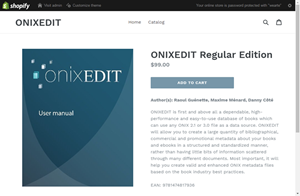 A Shopify product page produced by ONIXEDIT Bookstore