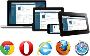 Multiple devices and platforms. Cross-Browser compatible.