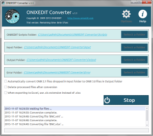 ONIXEDIT Converter - Main Application Window