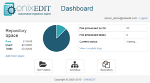 ONIXEDIT Server Automated Ingestion Agent Dashboard