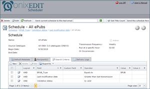 ONIXEDIT Scheduler Search Criteria